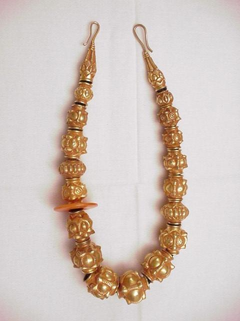 Javanese 22k Gold Filled Bead Necklace w/ Agate