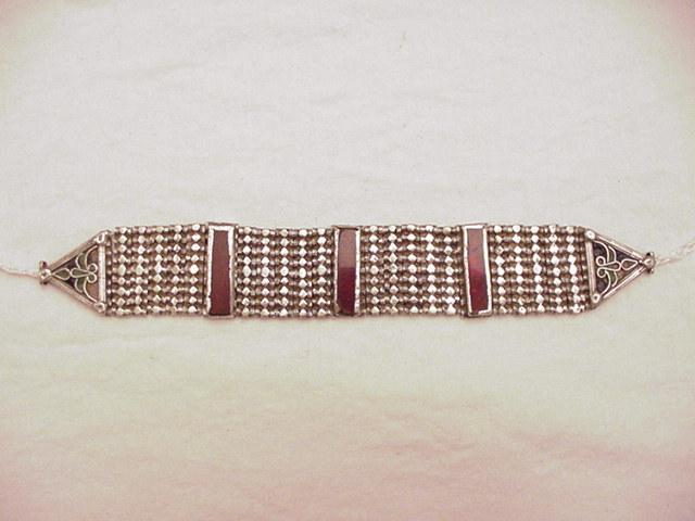 Antique Silver Indian Choker w/ Enamel