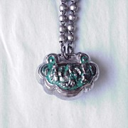 Colored Silver Lock Necklace