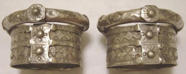 Antique Indian Dowry Silver Bracelet Pair