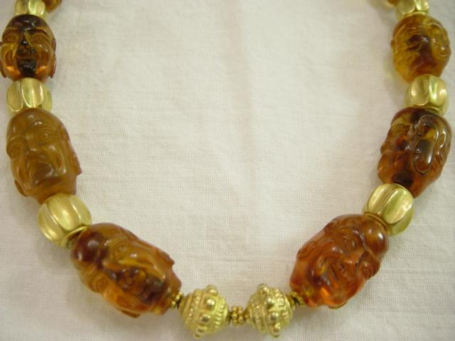 Antique Tibetan Carved Amber Indonesian Gold Beads Necklace
