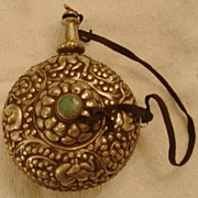 Antique Tibetan Silver Fragrance/Medicine Container w Turquoise