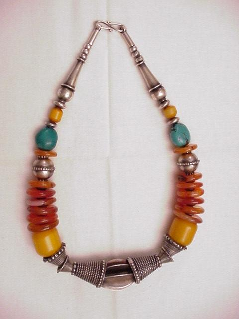 Traditional Indian Silver & Stone Beaded Necklace