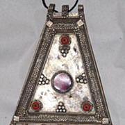 Large Saudi Arabian Bedouin Pendant with Glass Decoration