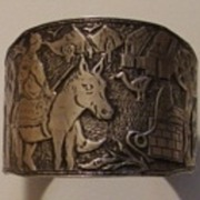 Large Rare Yemeni Silver Horse Rider w Arabic Bangle