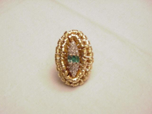 Large 14K Gold/Diamond/Emerald Ring