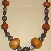 Antique Mauritanian Capped Amber Bead Necklace w Silver Beads