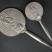 The Ultimate Art Deco Sterling Silver Hand Mirror and Brush Dresser Set