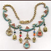 Fabulous Signed ART EGYPTIAN REVIVAL Necklace & Earrings Set