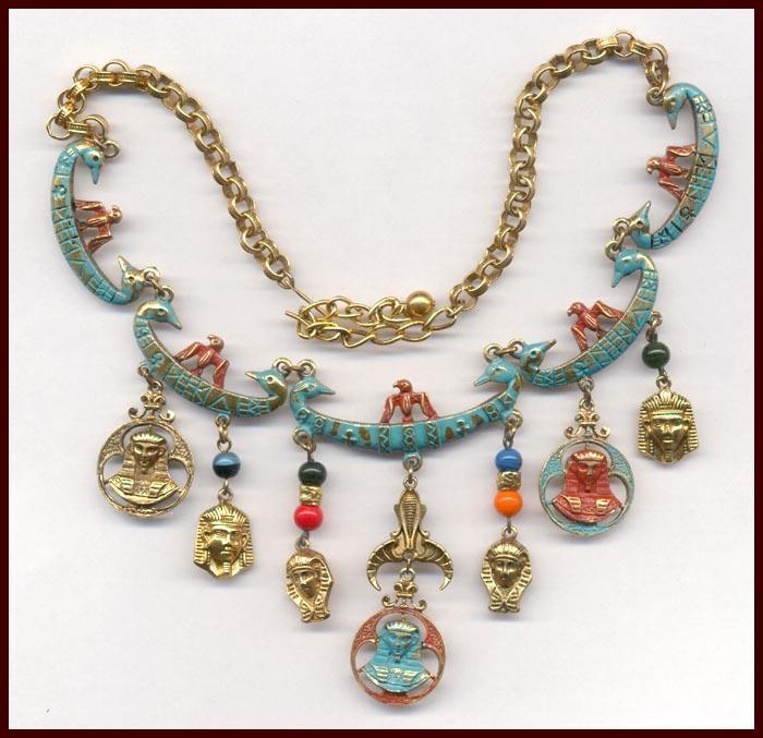 Fabulous Signed ART EGYPTIAN REVIVAL Necklace & Earrings Set