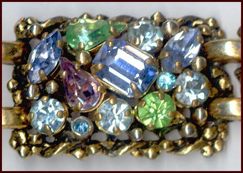 Signed Barclay Sparkly Multi-Colored Rhinestone Bracelet