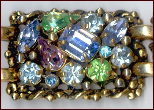 Signed Barclay Sparkly Multi-Colored Rhinestone Bracelet