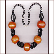 HUGE Dramatic Black & Orange Bead Necklace