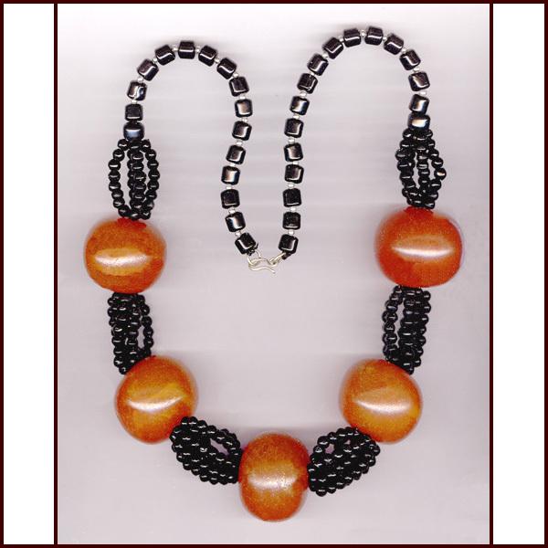 HUGE Dramatic Black & Orange Bead Necklace