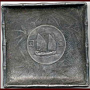 Sterling Tray with Embedded Chinese Junk Dollar