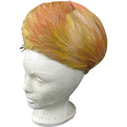 Elegant CHRISTIAN DIOR Gold & Orange Feather Hat