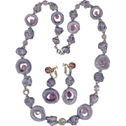 Fun Vendome Necklace & Earrings Set, Handmade Purple/Lavender Beads, Pink Crystals
