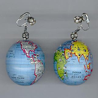 HUGE Wild & Crazy World Globe Clip Back Earrings