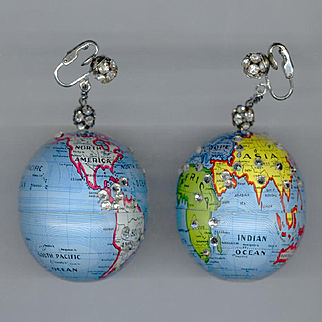 HUGE Wild & Crazy World Globe Clip Back Earrings