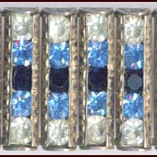 Elegant Finely Made Sterling Silver & Rhinestone Bracelet