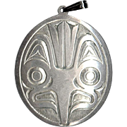 North West Coast Signed Gordon Cross Handcarved Silver Pendant