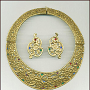 HUGE Jeweled Hinged Pierced Metal Collar & Earrings