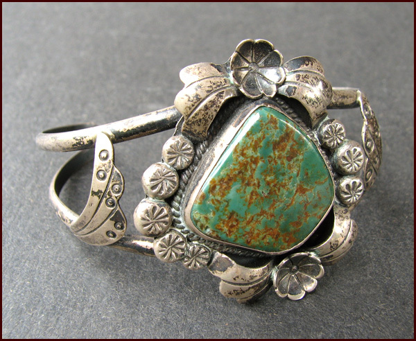 Signed NATIVE AMERICAN Silver & Turquoise Cuff Bracelet