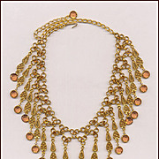 Elegant Drippy Unsigned GOLDETTE Bib Necklace