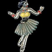 Unique Older Pot Metal Hula Dancer Trembler Pin