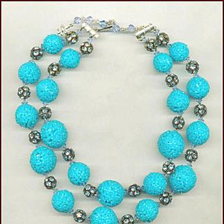 Vendome Weird Fused Plastic Bead & Rhinestone Necklace
