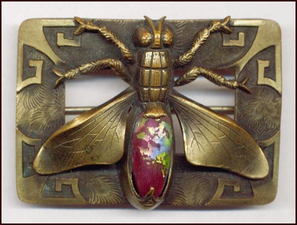 Exquisite Art Nouveau Insect Sash Pin With Art Glass Cabochon