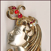 Heavy Bejeweled ART NOUVEAU Lady Fur Clip