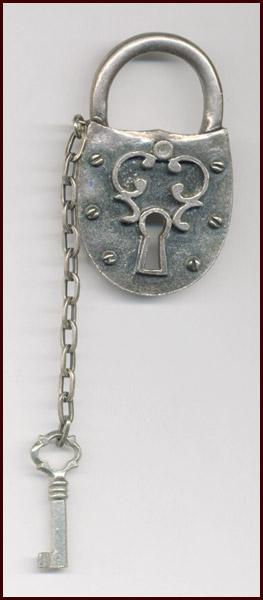 Novelty Pewter Tone Lock & Key Pin Signed ZENTALL