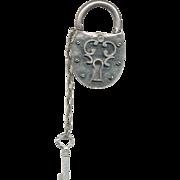 Novelty Pewter Tone Lock & Key Pin Signed ZENTALL