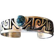 Signed PHILBERT POSEYESVA Hopi Silver Overlay Bracelet with Turquoise Cabochon
