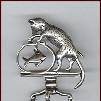 Too Cute 3-D Sterling Silver Cat and Fishbowl Pin Signed Jezlaine