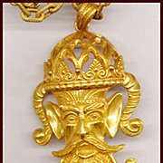 Dramatic LUCIEN PICCARD Mythical Face Pendant