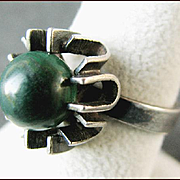 HENNING ULRICHSEN Denmark Sterling Silver Ring with Malachite