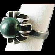 HENNING ULRICHSEN Denmark Sterling Silver Ring with Malachite