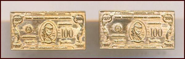 Novelty Gold Tone $100 Bill Cufflinks
