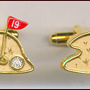 Fun Novelty 19th Hole Golf Course Cufflinks