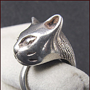 Heavy Cast Sterling 3 Dimensional Cat Ring