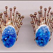 RARE Blue Enamel Matisse Renoir STARBURST Earrings