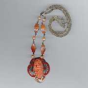 Czech Art Deco Period Orange Enameled Necklace, Molded Glass, Freshwater Pearls