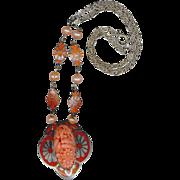 Czech Art Deco Period Orange Enameled Necklace, Molded Glass, Freshwater Pearls