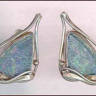 Modernist Sterling Silver & Iridescent Glass Clip Back Earrings
