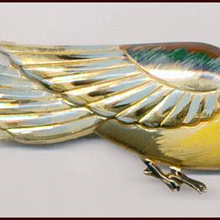 HUGE Colorful Enamel on Sterling Silver Bird Pin