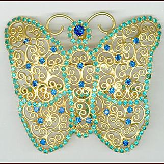 Huge Filigree & Rhinestone Butterfly Pin / Pendant