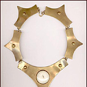 HUGE Modernist Brass Necklace with Stone Cabochons