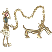 Amusing CORO Lady Walking a Dog Chatelaine Style Pins